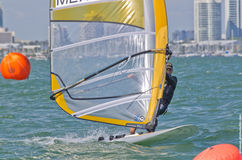 Men's windsurfing finals at the 2013 ISAF World Sailing Cup in M. Iami Royalty Free Stock Photos