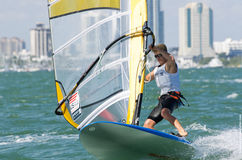 Men's windsurfing finals at the 2013 ISAF World Sailing Cup in M. Iami Stock Photos