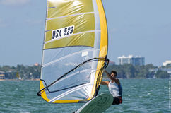 Men's windsurfing finals at the 2013 ISAF World Sailing Cup in M. Iami Royalty Free Stock Image
