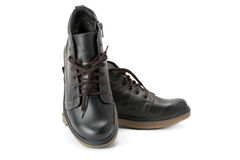 Men`s winter boots of black colour. Royalty Free Stock Image
