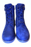 Men`s winter boots isolated. Blue Men`s winter warm boots isolated on the white background Royalty Free Stock Images