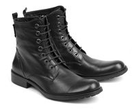 Men's winter leather boots Royalty Free Stock Photos