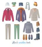 Men s Winter Look Vector Concept In Flat Design Stock Photography