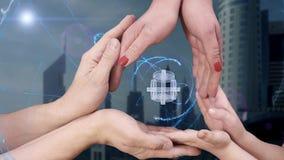 Men`s, women`s and children`s hands show a hologram 3D dumbbells