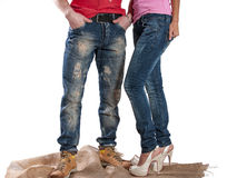 Men's and women's jeans royalty free stock photos