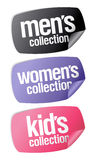 Men`s, women`s and kid`s collection stickers Royalty Free Stock Images