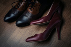 Men's and women's shoes Royalty Free Stock Images