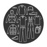 Men`s working clothes icons set Stock Photography