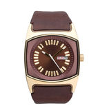 Men's wristwatch in brown color Stock Image