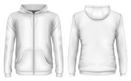 Men`s zip-up hoodie. Front and back views of hooded sweatshirt. Vector illustration Stock Images