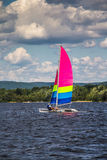 Men sailing on a catamaran Royalty Free Stock Photos