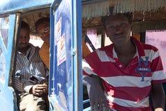 Men sat in a rickshaw, Ethiopia Royalty Free Stock Image