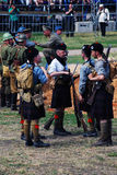 Men in Scottish kilts. MOSCOW - JUNE 08, 2014: Men in Scottish kilts. Historical reenactment of Mincer Nivelle battle held in 1917, the largest battle of the stock photos