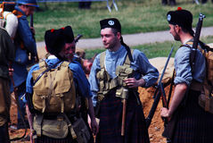 Men in Scottish kilts. MOSCOW - JUNE 08, 2014: Men in Scottish kilts. Historical reenactment of Mincer Nivelle battle held in 1917, the largest battle of the royalty free stock photos