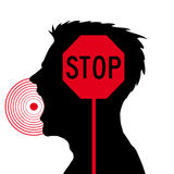 Men screaming. Vector sillhouette of a frustrated men screaming.Stop sign.Stress stock illustration
