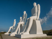 Men at sea colossal sculptures near Esbjerg harbor in Denmark Royalty Free Stock Image