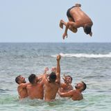 Men, Sea, People, Swimming Trunks Royalty Free Stock Photography