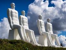 Men at sea statues in Esbjerg harbor, Denmark Stock Photo