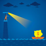 Men search the boat with full of money. Men on light house find boat with full of money concept vector Royalty Free Stock Image