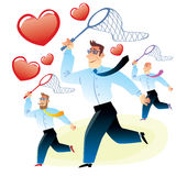 Men in search of love caught red heart butterfly net. Office workers men in search of love caught red heart butterfly net for butterflies stock illustration
