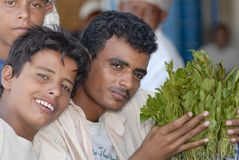 Men sell khat at the local market in Lahij, Yemen. Stock Photos