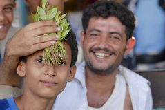 Men sell khat at the local market in Lahij, Yemen. Stock Photography