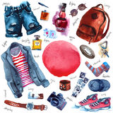 Men Set of trendy look. Watercolor. Clothes Royalty Free Stock Image