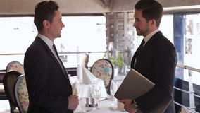 The men shake each other hands stock footage