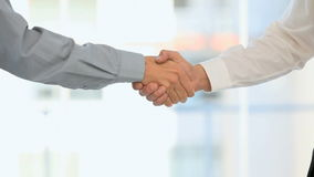 Men shaking hands. Businessman and  businesswoman shaking hands stock video