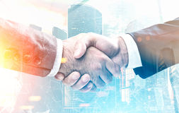 Men shaking hands, office, morning city Royalty Free Stock Photo