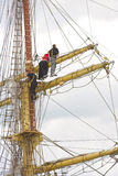 Men on ship mast Royalty Free Stock Images