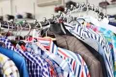 Men shirts at boutique Stock Photo
