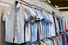 Men shirts in clothing store Royalty Free Stock Images
