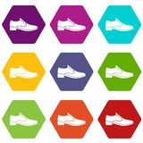 Men shoe icon set color hexahedron Royalty Free Stock Images