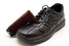 Men shoe with shoe brush Stock Photos