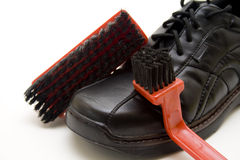 Men shoe with shoe brush Stock Photo