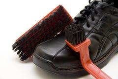 Men shoe with shoe brush Stock Photo