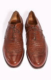 Men shoes. Elegant brown leather men shoes isolated on white Royalty Free Stock Photography