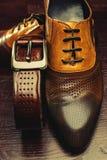 Men shoes and belt Stock Photos