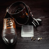 Men shoes and belt Royalty Free Stock Image