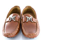 Men shoes in brown color isolate. On white background Royalty Free Stock Photography