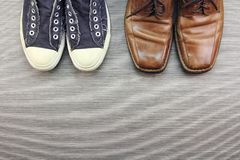 Men Shoes, Different Style of fashion, Compare of formal and casual men fashion style. Royalty Free Stock Photo