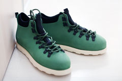 Men shoes. Green men shoes, casual style Royalty Free Stock Photography