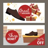 Men shoes horizontal flyers for advertising. Vector fashion model man shoe store and discount Royalty Free Stock Image