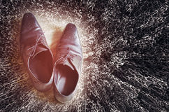 Men shoes top view. On textured background Royalty Free Stock Image