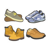 Men shoes winter or summer sport boots types vector flat isolated icons set Royalty Free Stock Photos