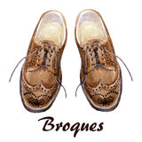 Men shoes. Watercolor men shoes. Hand painted fashion illustration with brogues royalty free illustration