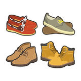Men shoes winter or summer boot types vector flat  icons set Stock Photography