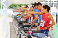 Men shoot in competitions on tournament on modern pentathlon. MOSCOW - JUN 17: Men shoot in competitions on tournament on modern pentathlon - Kremlin Cup in CSKA Royalty Free Stock Photo