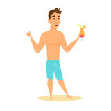 Men in shorts with cocktail Stock Image